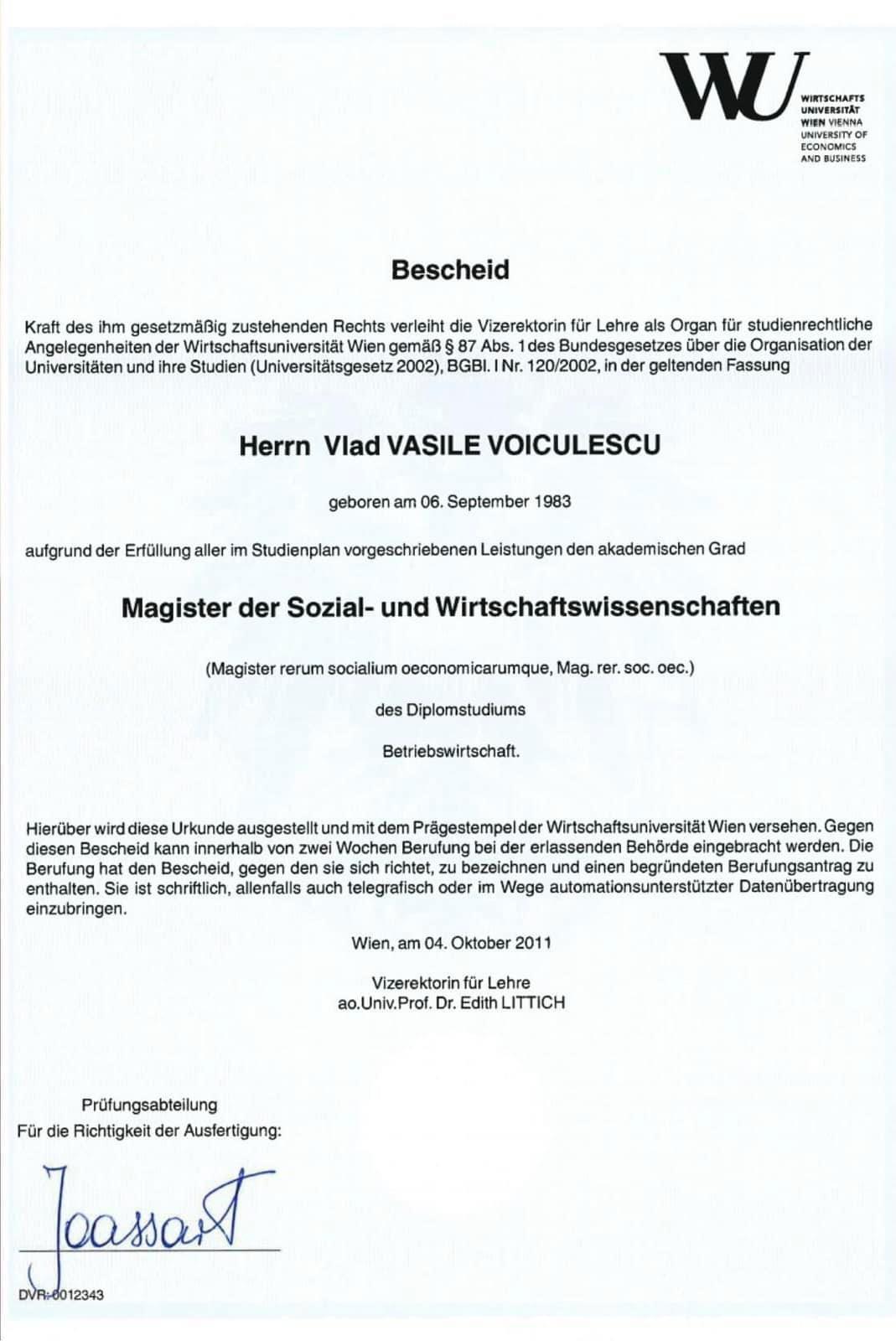 Dovada studiilor lui Vlad Voiculescu