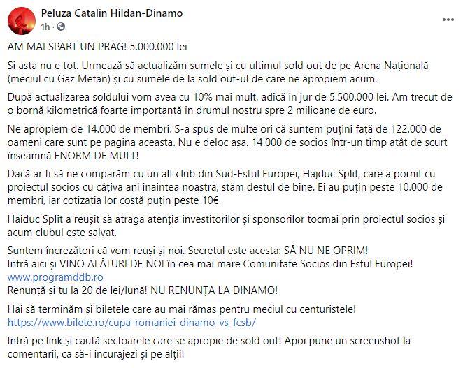 Fani 1.100.000 de euro Dinamo