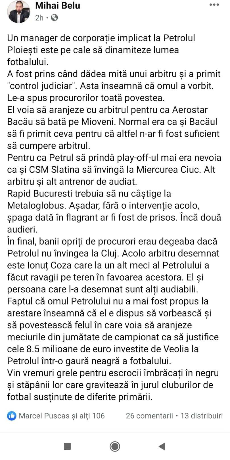 Scenariu incredibil in scandalul de mita de la Liga a doua. Sursa foto: captura postare Facebook Mihai Belu