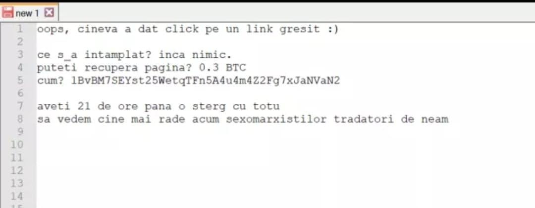 Mesajul hackerilor pentru administratorii paginii USR Tineret.