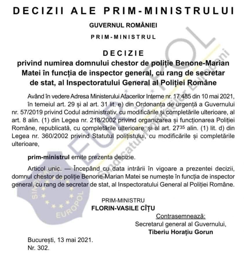 Decizia de numire în funcția de șef al Poliției Române a chestorului Benone Marian Matei