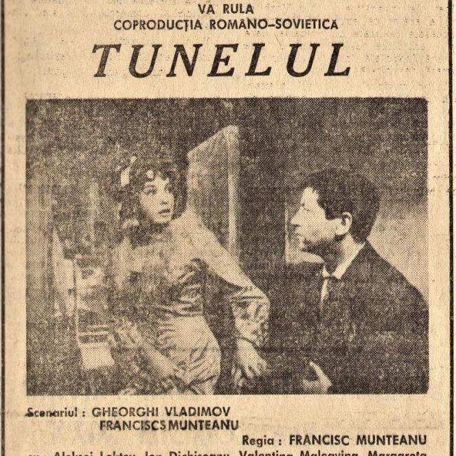 """Afișul filmului """"Tunelul"""", cu Ion Dichiseanu și Valentina Maleavina, în rolurile principale (sursa Linkedin)"""