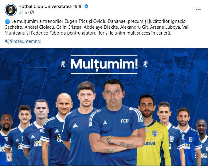 FC U Craiova demitere Eugen Trică