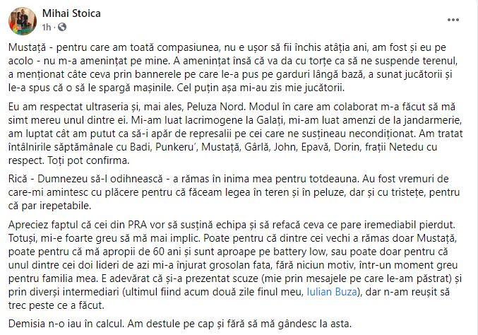 Mihai Stoica răspuns fani demisie