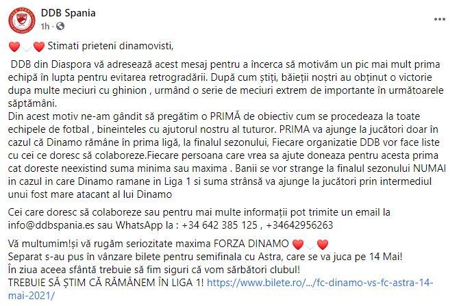 Fani Dinamo surpriză jucători