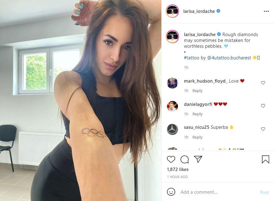 Larisa Iordache şi-a tatuat cercurile olimpice, înainte de participarea la Tokyo 2021. FOTO: captura instagram