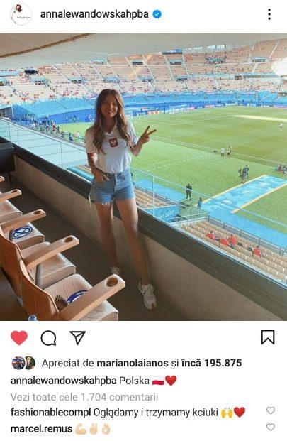 Anna Lewandowski, la meciul dintre Spania si Polonia de la Madrid