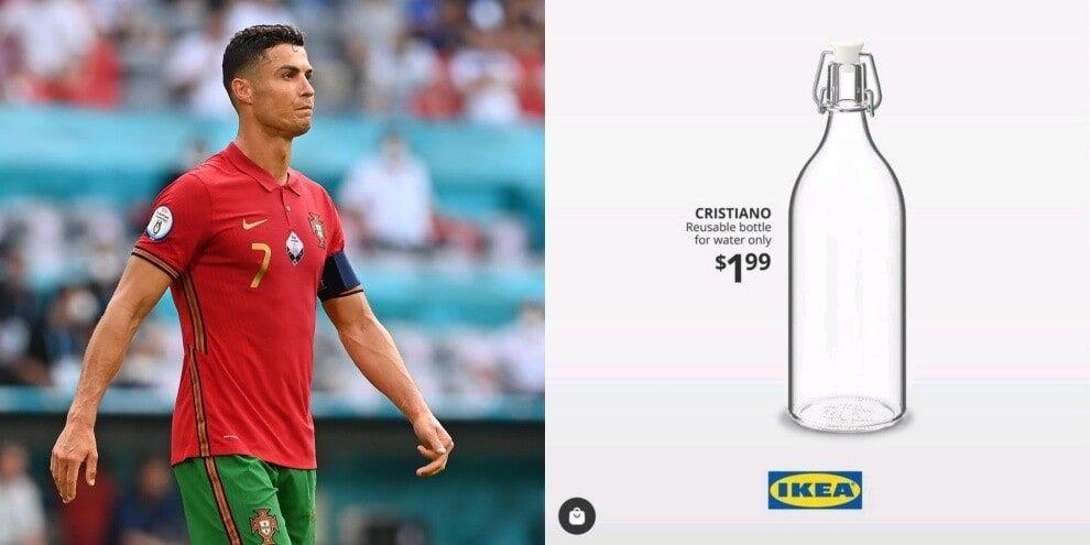 """IKEA lanseaza un nou produs """"Cristiano"""" pentru a sublinia mesajul portughezului de la EURO 2020: """"Doar apă!"""""""