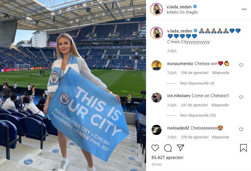 Vlada Zinchenko a fost prezenta si la finala UEFA Champions League dintre Manchester City si Chelsea