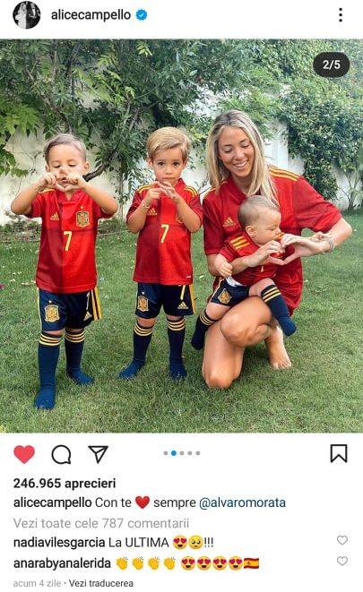 Alice Campello, sotia lui Alvaro Morata si cei trei copii, sustin nationala Spaniei la EURO 2020