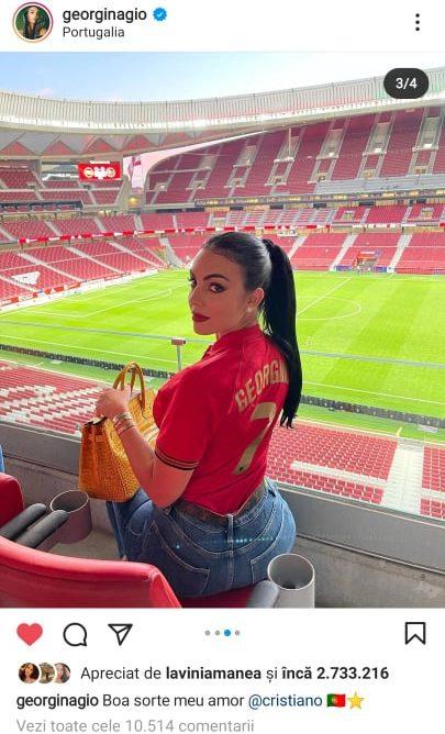 Georgina Rodriguez nu a ratat meciurile Portugaliei si ale lui Cristiano Ronaldo de la EURO 2020. Sursa foto: captura cont oficial Georgina Rodriguez