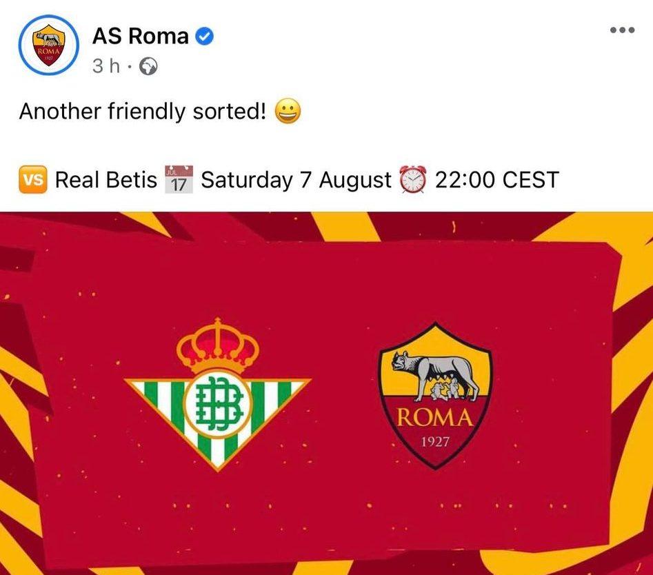 Meciurile amicale ale lui AS Roma. Sursă foto: Facebook/AS Roma
