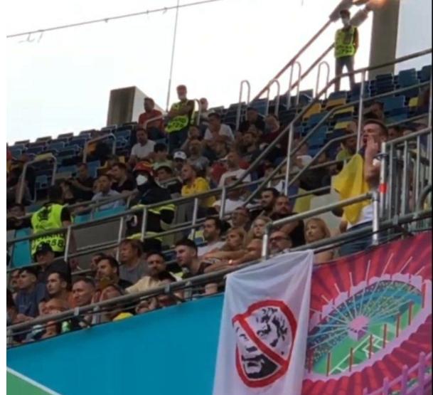 Banner-ul afisat de suporterii lui DInamo Kiev la meciul Ucraina - Macedonia de Nord de pe National Arena