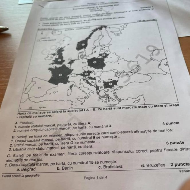 Subiectele la geografie