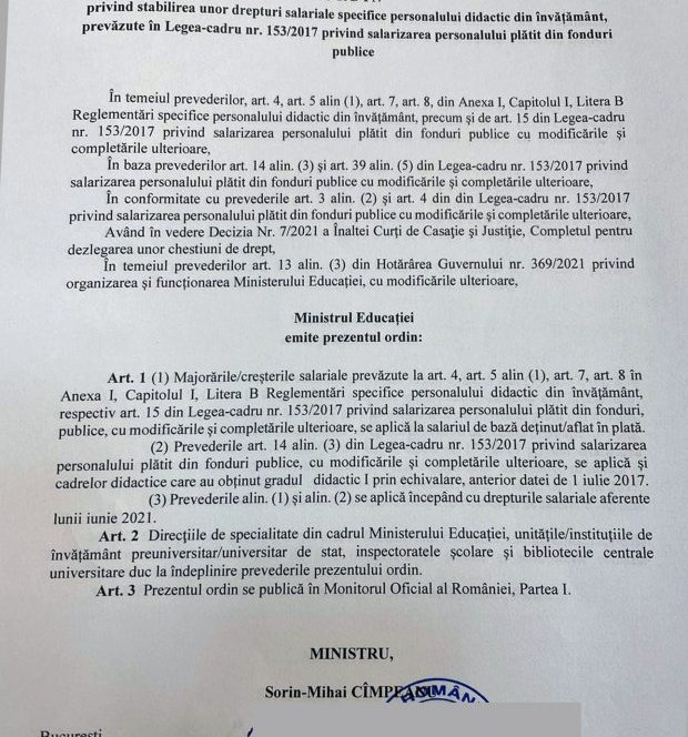 Ordinul semnat de Sorin Cîmpeanu