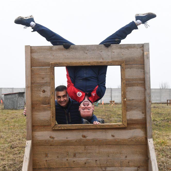 La antrenament, alături de campionul olimpic Marius Urzică (sursa Ambasada Israelului. David Saranga)