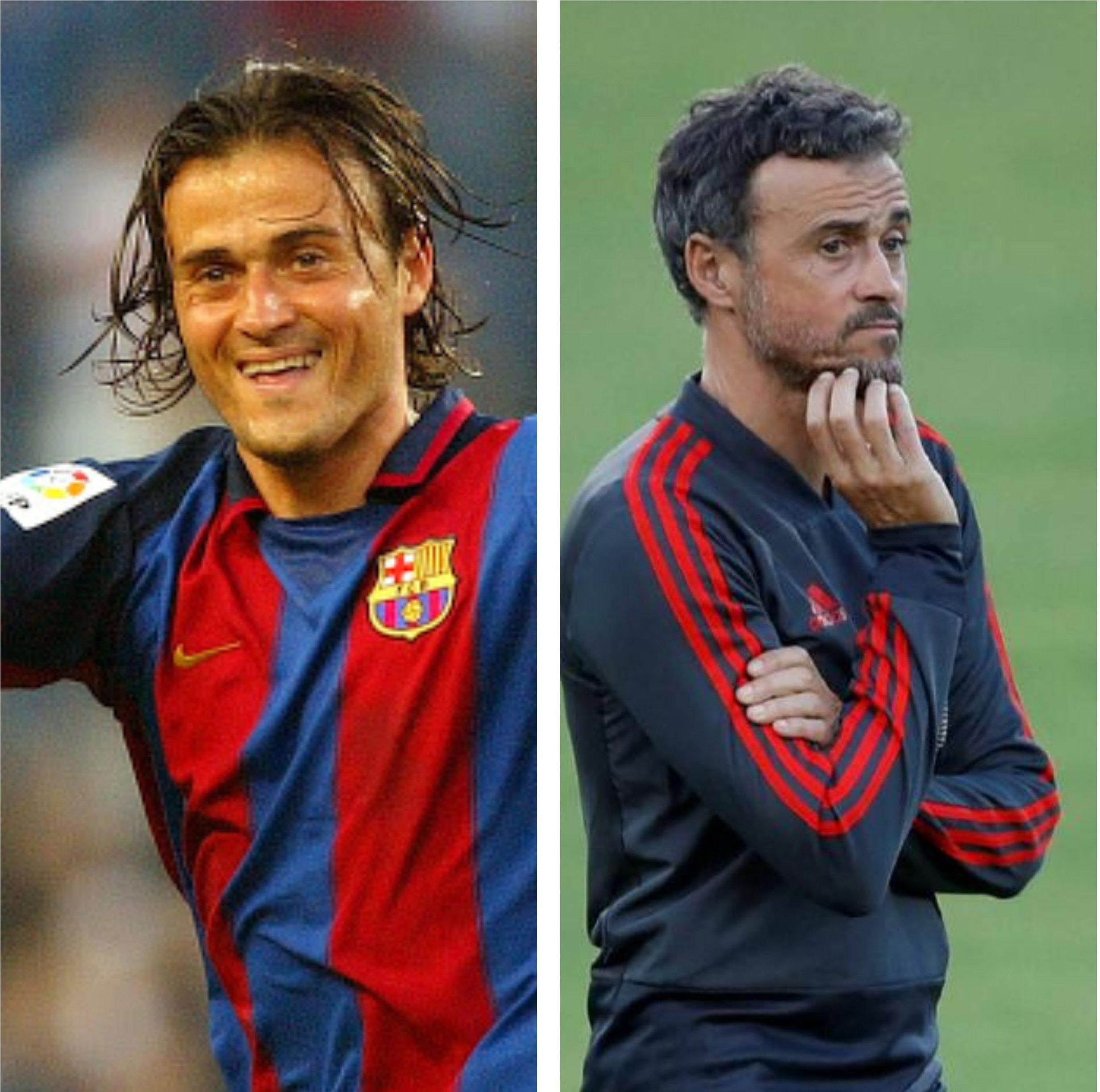 Luis Enrique, selectionerul Spaniei, are 51 de ani și s-a retras de la Barcelona în 2004. Sursa foto: colaj Fanatik