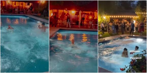 Invitații au sărit în piscină