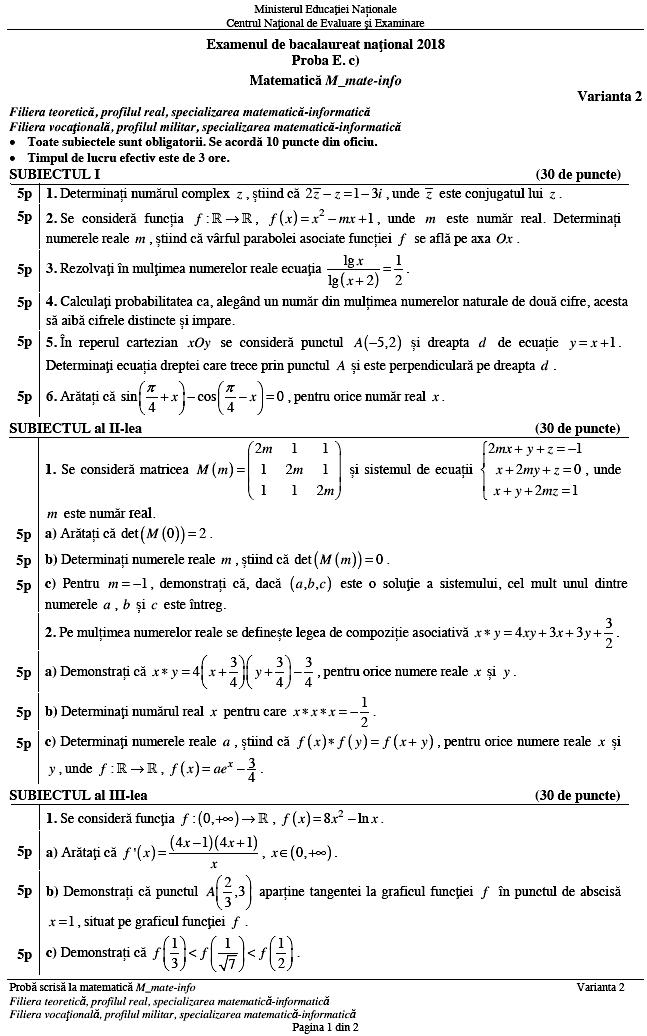 Subiecte Bacalaureat matematică