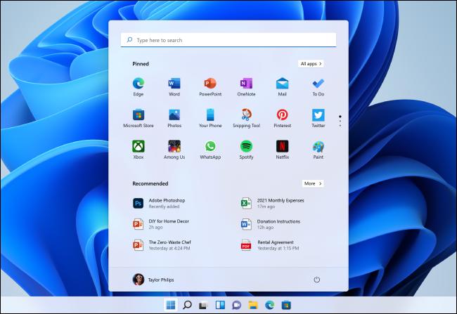 Noul meniu Start din Windows 11. Sursa foto: Microsoft.