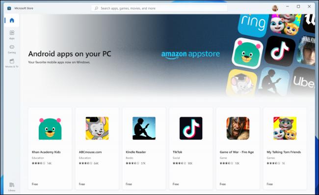 Aplicații de Android, direct în Windows 11. Sursa foto: Microsoft.