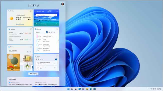 Widgeturi personalizabile în Windows 11. Sursa foto: Microsoft.