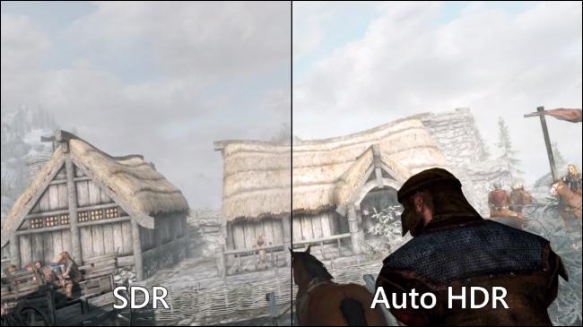 Cum arată Skyrim cu și fără Auto HDR. Sursa foto: Microsoft.