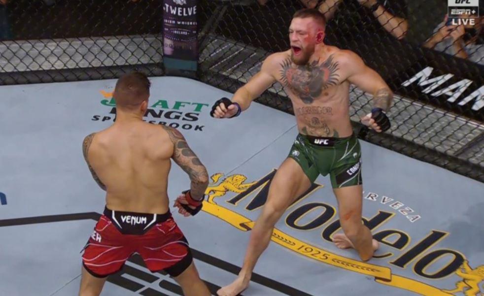 McGregor şi-a rupt glezna şi a pierdut meciul cu Dustin Poirier. FOTO: captura tv