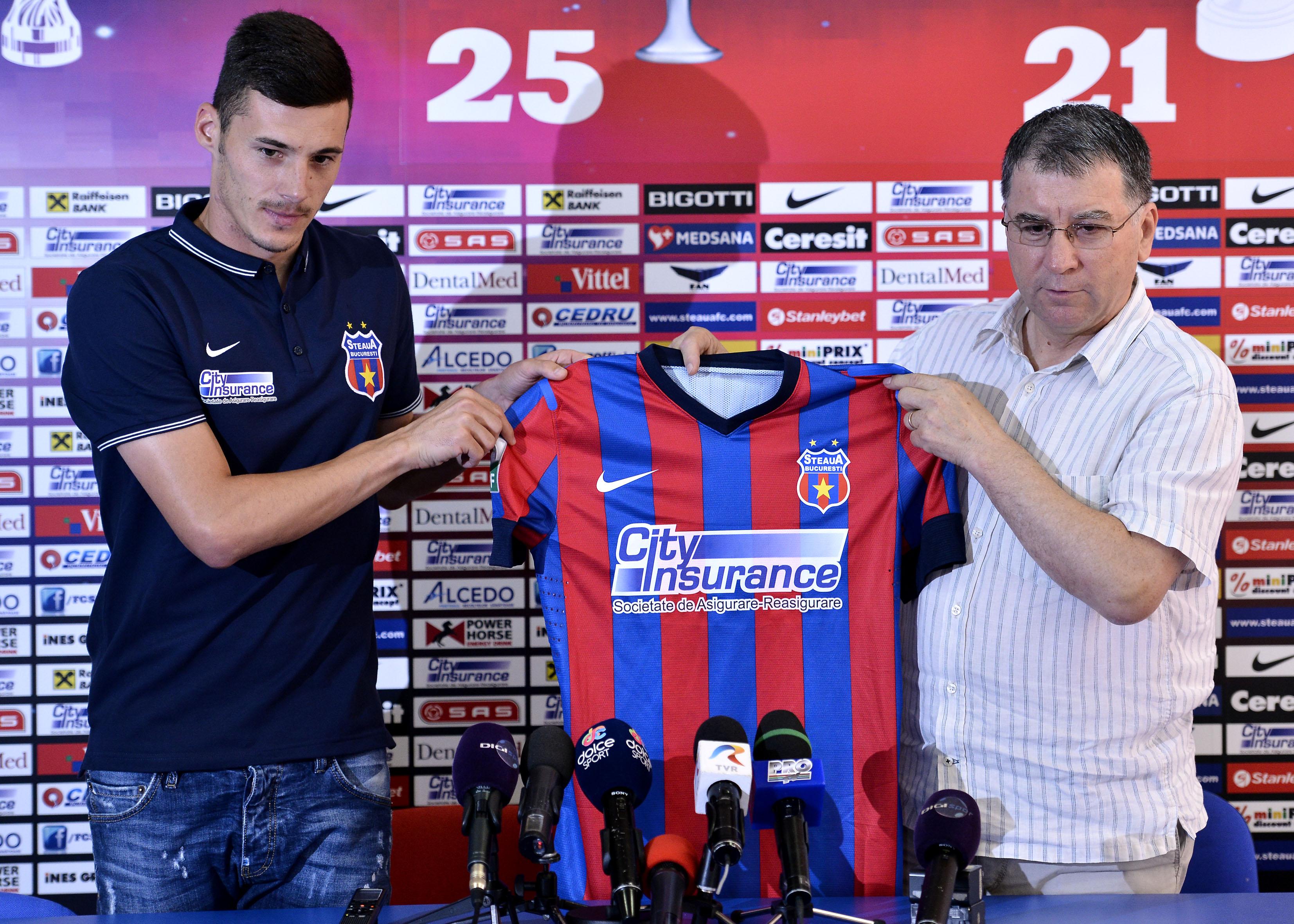 1.FOTBAL:PREZENTARE VALENTIN LEMNARU LA STEAUA BUCURESTI (25.07.2014)