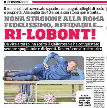 Bogdan Lobont la al 9-lea sezon in tricoul lui AS Roma1